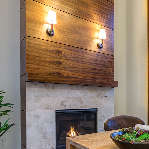 melamine wood paneling on fireplace hearth